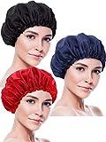 Blulu 3 Pieces Sleep Cap Satin Bonnet Night Head Cover Sleeping Soft Hair Turbans for Women and Girls (Black red Navy)