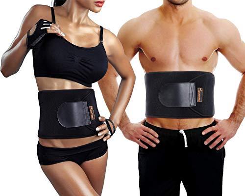 Sportneer Waist Trimmer for Men & Women, Adjustable Neoprene Waist Ab Trainer Belt for Back Support, Sweat Wrap, Sweat Enhancer,Body Slimmer,Exercise Workout Fitness Support Black