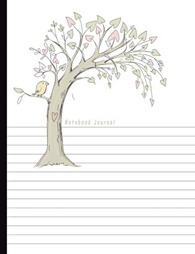 Notebook Journal: Dual Design Half Wide Ruled Half Blank Creative Sketchbook with Lined Pages Drawing or Doodling & Writing Journal Notebook Organizer Tree with Bird Soft Cover