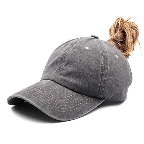 Ponytail Vintage Classic Cotton Dad Hat Adjustable Plain Cap Low Profile (Unconstructed)Messy High Bun Hat Ponycaps Adjustable Cotton Baseball Cap
