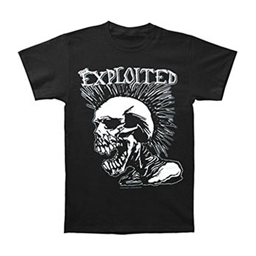 The Exploited Mohican Skull Männer T-Shirt schwarz L 100% Baumwolle Band-Merch, Bands, Totenköpfe