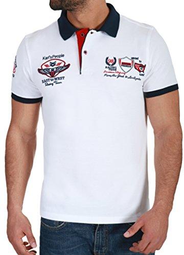 Karl's People Herren Poloshirt mit hochwertigen Stick Details Menswear Fahsion T-Shirt Polo 6681, Größe L, Farbe White
