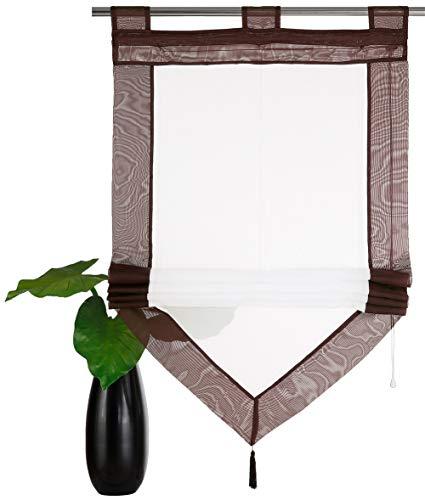 YouFia Scheibengardine Raffrollos mit Quaste Voile Transparent Dreieck Dekoschals Rollos Schlaufen Gardine BxH 80x140cm,Braun