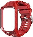 DOHAPPYS - Cinturino di ricambio per Tom Tom, per braccialetti sportivi, in morbido silicone, per Tom Tom Adventurer/Runner 2/Runner 3/Spark 3/Golfer 2 (rosso)