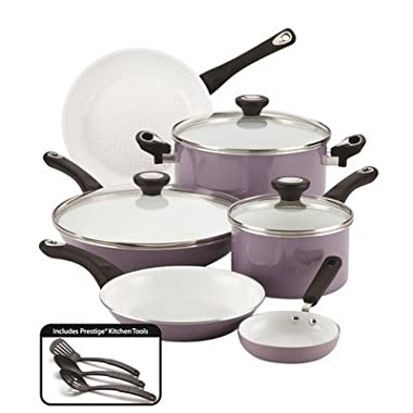 Farberware 12 Piece Ceramic Nonstick Cookware, Lavender