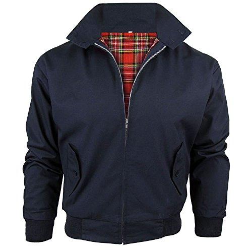 Harrington-Jacke mit kariertem Futter, gefertigt in Großbritannien, Herren, mit Reißverschluss, klassische Bomberjacke Gr. XL, navy