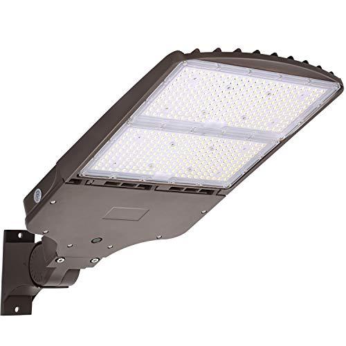 Hykolity 300W LED Parking Lot Light, 40500LM (135LM/W) 5000K LED Shoebox Lights with Dusk to Dawn Photocell,[1000W HPS Equiv.] Adjustable Commercial LED Street Lighting, Arm Mount