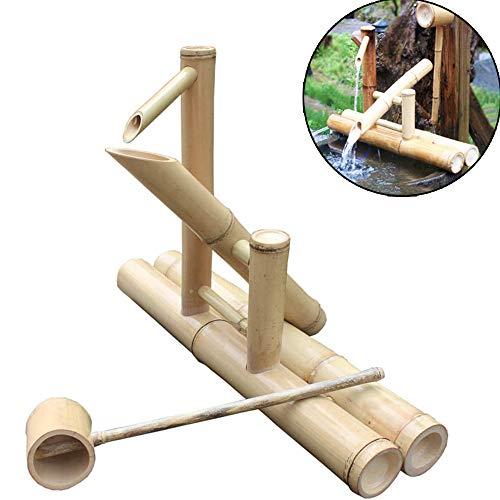 QXTT Bambusbrunnen Garten Bamboo Wasserbrunnen Und Pumpe Wasserspiel Skulptur Deko Statuen Gartendekoration Wasserfall Outdoor Japanisches Garten Feature