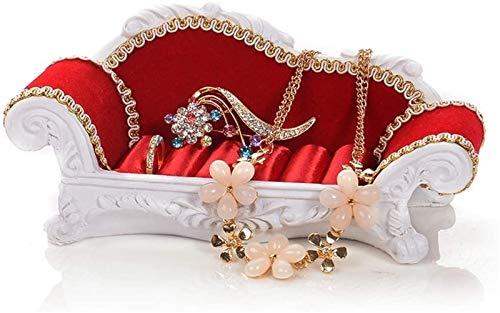 GIAOYAO Soporte de la exhibición de la joyería Marco de la joyería Sofá Anillo Soporte Pendientes Pendientes Soporte Caja de Almacenamiento Collar Pantalla Props (Color: Rojo, Tamaño: 17 * 8 * 7cm)