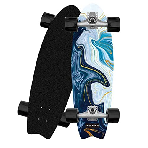 XKAI Carver Surfskate Principiantes Adult Complete Skateboard Cruiser Fancy Longboard Skate Monopatin Maple Wood Deck Board 81x25CM Monopatín, Carving CX4 Truck, ABEC-9 Rodamientos