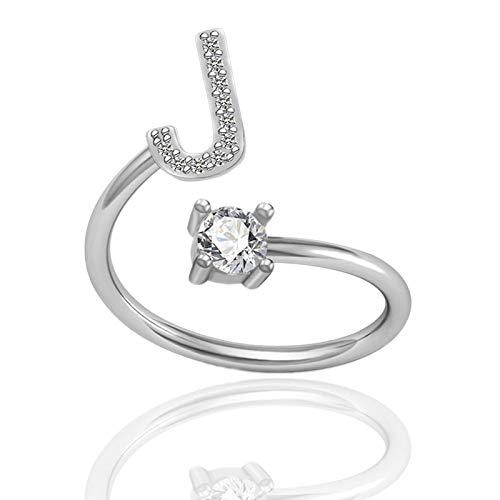 Open Rings for Women Letter Metal Adjustable Opening Ring Initials Name Alphabet Female Creative Finger Rings Trendy Party Gift J