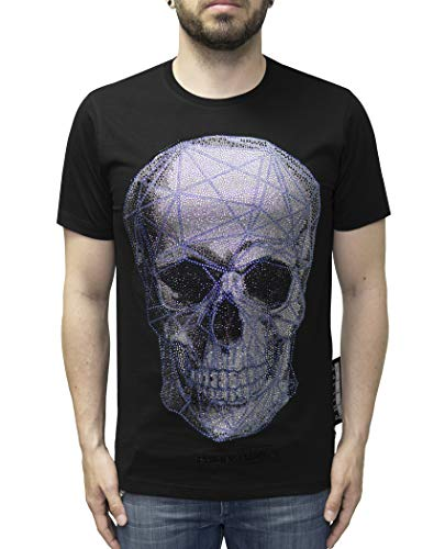 Philipp Plein T-Shirt Platinum Cut with Skull Print and Rhinestones (M)