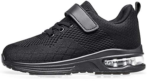 Anlarach Kids Toddler Shoes Boys Girls Athletic Running Shoes Air Cushion Sneakers for Toddler 7 allblack