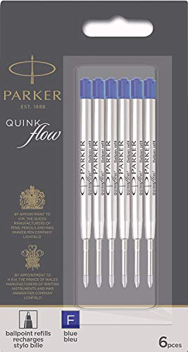 Parker Quinkflow Ink Refill for Ballpoint Pens, Fine Point, Blue Pack of 6 Refills (1782468)