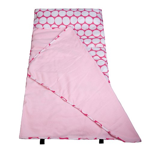 Wildkin Easy Clean Nap Mat with Pillow for Toddler Boys and Girls, Ideal Size for Daycare and Preschool, Perfect for Sleepovers and Travels, BPA-free (Big Dot Pink & White)