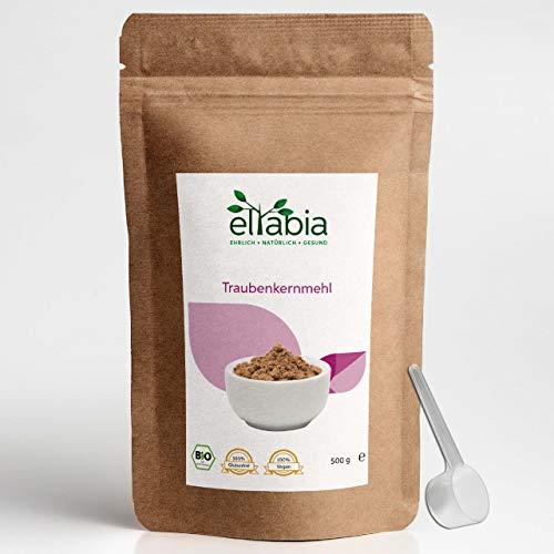 eltabia OPC Farine de pépins de raisin bio 500 g Grand paquet 100 % pure sans additifs, qualité alimentaire crue