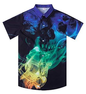 Uideazone Boys Teens 3D Hawaiian Shirts Summer Casual Tropical Beach Holiday Party Short Sleeve Button Down Aloha Shirt 7-14T