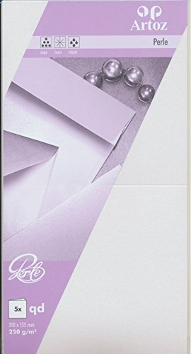 Artoz Papier AG - Perle Doppelkarte quadratisch 155x155mm 5er-Pack weiss