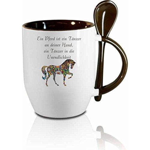 Creativ Deluxe Tasse m. Löffel EIN Pferd ist EIN Tänzer Löffeltasse, Kaffeetasse mit Motiv,Bürotasse, Bedruckte Tasse mit Sprüchen oder Bildern - auch individuelle Gestaltung nach Kundenwunsch