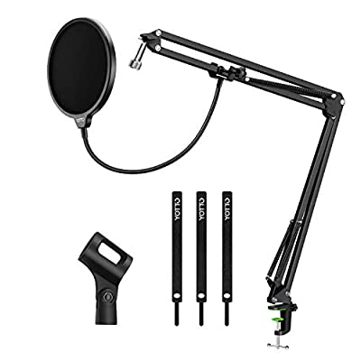 YOTTO Microphone Stand Adjustable Studio Mic Stand Suspension Boom Scissor Arm with Pop Filter Windscreen, 3* Cable Ties, for Blue Yeti, Snowball & Other Microphones Radio Broadcasting, Recording