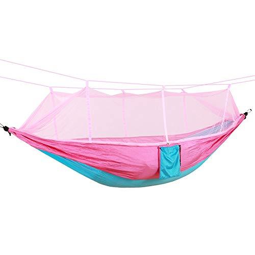 Bureze 1 2 Personnes Portable extérieur Camping Hamac avec moustiquaire Haute résistance Parachute Tissu à Suspendre Lit de Chasse de Couchage Swing