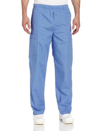 Landau Men's Comfort 7-Pocket Elastic Waist Drawstring Cargo Scrub Pant, Ceil Blue, Medium