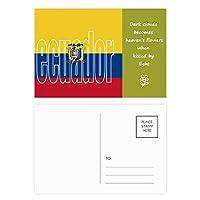 エクアドル国の旗の名 詩のポストカードセットサンクスカード郵送側20個