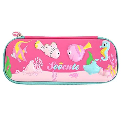 Pencil Case for Girls-3D Cute Animal Cartoon Pupil Stationery Box Birthday Gift Eva School Pencil Case Hot Pressing Forming Strong Compressive Bag (Cean World/Ice Cream/Cosmic Planet),A