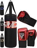 RDX Niño Saco de Boxeo y Guantes para Entrenamiento | Junior Relleno Punching Bag para MMA, Muay Thai, Sparring, Kick Boxing, Artes Marciales | Kids 2FT Bolsa de Boxeo Set