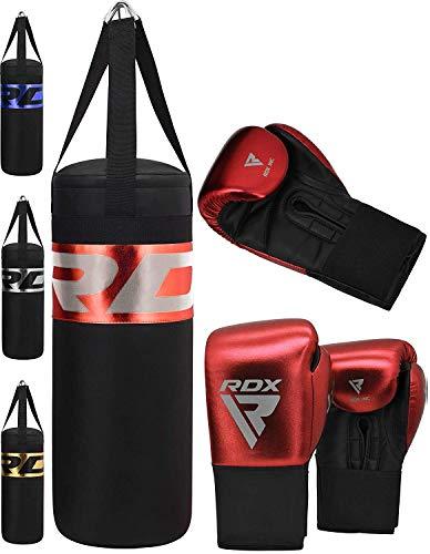 RDX Bambini Sacco da Boxe e Guantoni per Allenamento | Junior Pieno Sacchi Pugilato per Muay Thai, Sparring, Kickboxing | Grande per Kids Punzonatura, Arti Marziali, MMA | 2FT Punching Bag Set