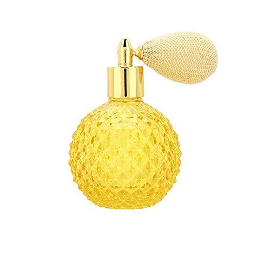 Cadeau de fête des mères Bouteille de pulvérisation de parfum en verre rétro de mode bouteille de distributeur d'atomiseur de parfum vide rechargeable pour hommes et femmes 100 ml jaune