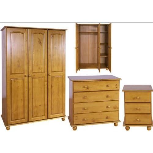 Right Deals UK Solid Pine Bedroom Furniture Set - 3 Door ...