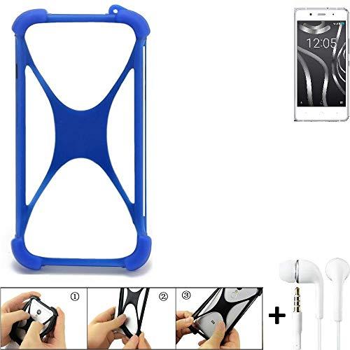 K-S-Trade® Handyhülle Für BQ Readers Aquaris X5 Plus Bumper Schutzhülle Silikon Schutz Hülle Cover Case Silikoncase Silikonbumper TPU Softcase Smartphone, Blau (1x), Headphones
