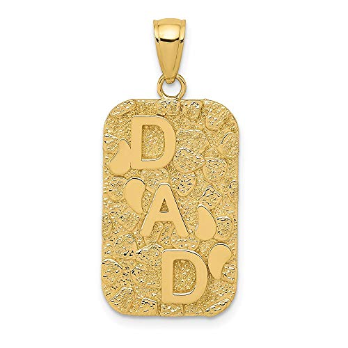 14k Dad Gold Nugget Dog Tag Pendant Charm Necklace Fine Jewelry For Dad Mens Gifts For Him