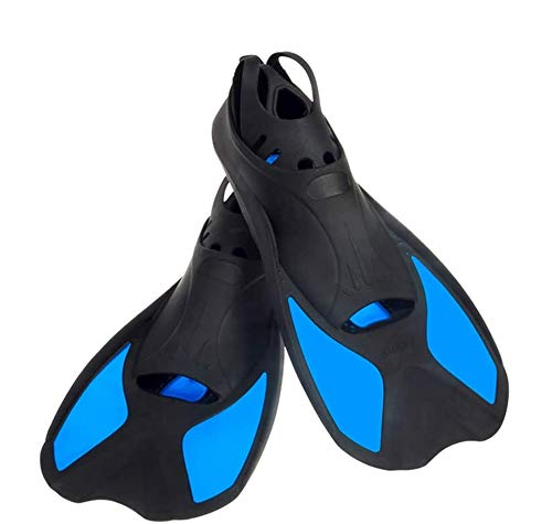 Comfecto Snorkeling Fins Short Floating Training Swimming Fins for US Size XL Width Ankle 3.3 Inch with Thermoplastic Rubber Travel Fins for Swimming Scuba Diving Snorkeling Watersports,Blue