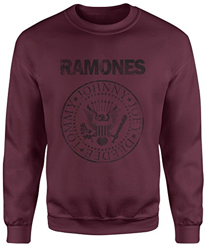 LaMAGLIERIA Sudadera Unisex Ramones Grunge Black Print - Sudadera Set-in, M, Bordeaux