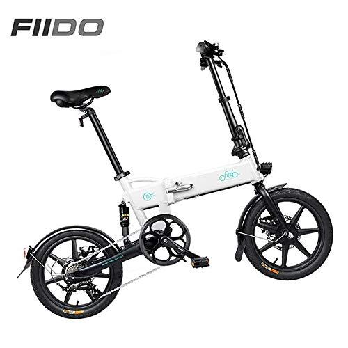 Folding Electric Bike for Adults FIIDO D2S Ebike 16-inch Tires Mountain Electric Bike 250W Watt Motor 6 Speeds Shift 36V White