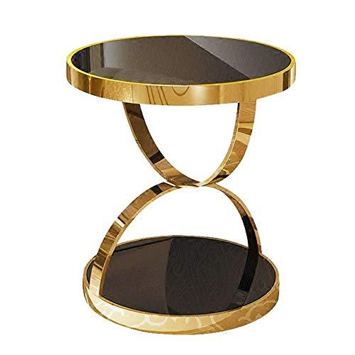 LYN End Table,Sofa bijzettafel, Modern RVS Goud Ronde Tafel Verguld Gehard Glas Sofa Zijtafel Vrije tijd Koffie Tafel theetafel