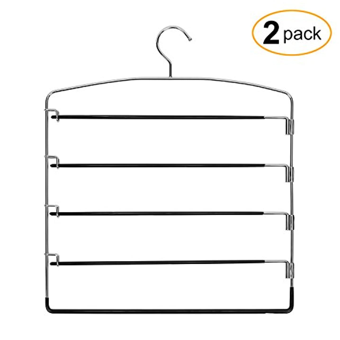 Corodo Black Pants Hangers 2 Pack, No Slip Multi Pant Hanger for Jeans Trousers, Skirts, Scarf, 5 Tier Swing Arm Pant Rack