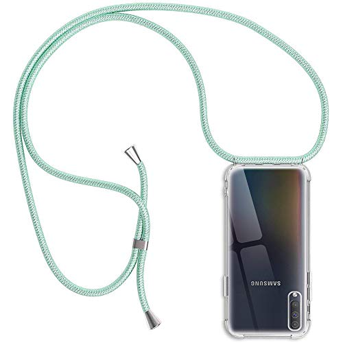 Funda Compatible con Samsung Galaxy A50/ A30S/A50S, Transparente Silicona Carcasa con Cuerda, Ultrafina Suave TPU Gel Case con Cuerda para Colgar Ajustable Anti Golpes Protector Case - Verde Claro
