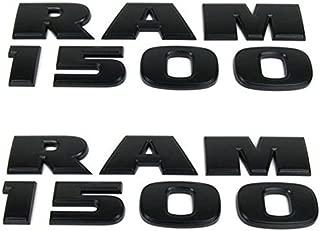 Yoaoo 2x Genune Black Ram 1500 Emblem Badge 3D Emblem Decals Nameplates Flat Letter Matte OEM