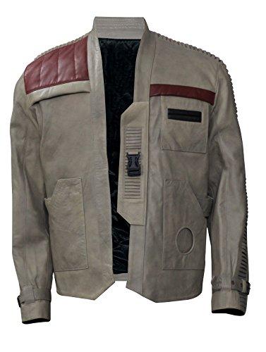 Poe Dameron Finn Star Wars Episodio 7 Giacca in vera pelle Beige antico. XL