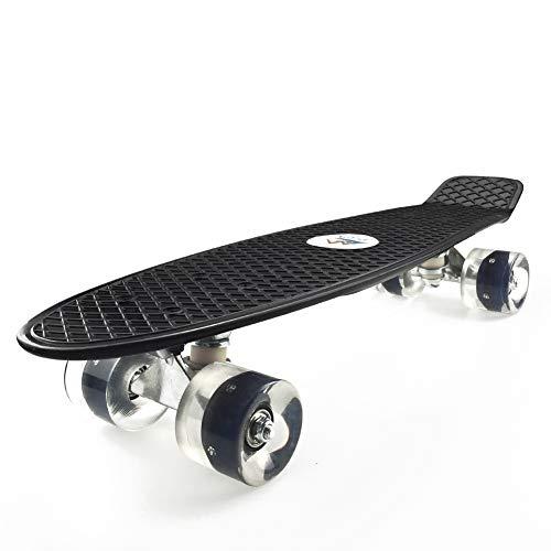 EYLIFE Skateboard für anfänger, 55cm/22 Mini Cruiser Board Retro Skateboard Komplettboard mit LED Leuchtrollen für Jugendliche Kinder und Erwachsene