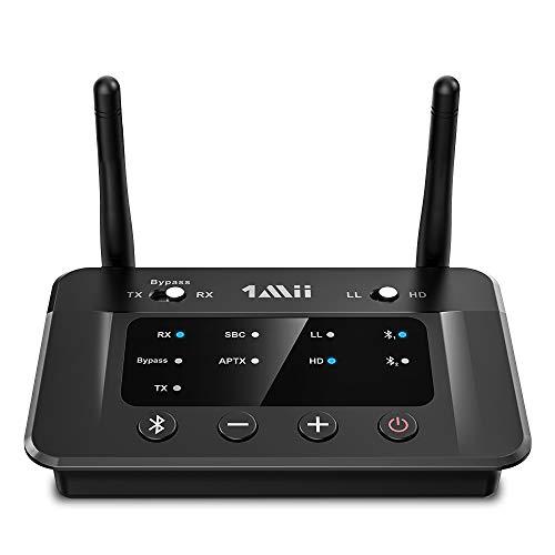 1Mii Bluetooth トランスミッター 5.0 オーディオ レシーバー ブルートゥース 送受信機 、テレビ アンプ 用、aux 光デジタル RCA aac aptx-ll 低遅延 aptx hd 高音質 classic 対応、二つイヤホン/ヘッドホン同時接続 音量調整可能 ぶるーとーす送信機 受信機 バイパス 一台三役 B03