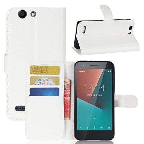 Tasche für Vodafone Smart E8 Hülle , Ycloud PU Kunstleder Ledertasche Flip Cover Wallet Hülle Handyhülle mit Stand Function Credit Card Slots Bookstyle Purse Design weiß