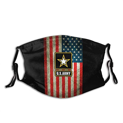 U.S. Army Us Army with Star Multifunctional Fashion Washable Reusable Cloth Face Mask Bandanas Balaclava Adjustable Face Protection America Flag with 2 Filters