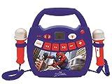 Lexibook- Spiderman-Lecteur Musical karaoké Portable pour Enfant avec micros et Effets Lumineux, Bluetooth, USB, Fonctions Enregistrement et Changement de Voix, Marvel, Bleu/Rouge, MP300SPZ