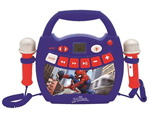 Lexibook MP300SPZ Spiderman-Mein erster Karaoke Musikplayer für Kinder mit 2 Spielzeugmikrofonen, Bluetooth, USB, Aufnahmefunktion, Stimmeneffekt, Marvel, Blau/rot