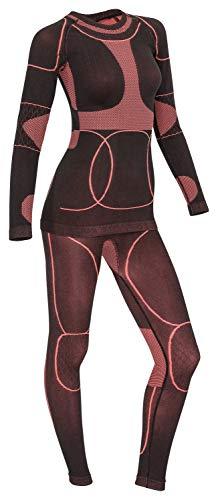 icefeld®: Sport Ski- Thermounterwäsche-Set für Damen Seamless (nahtfrei) in schwarz/Koralle S