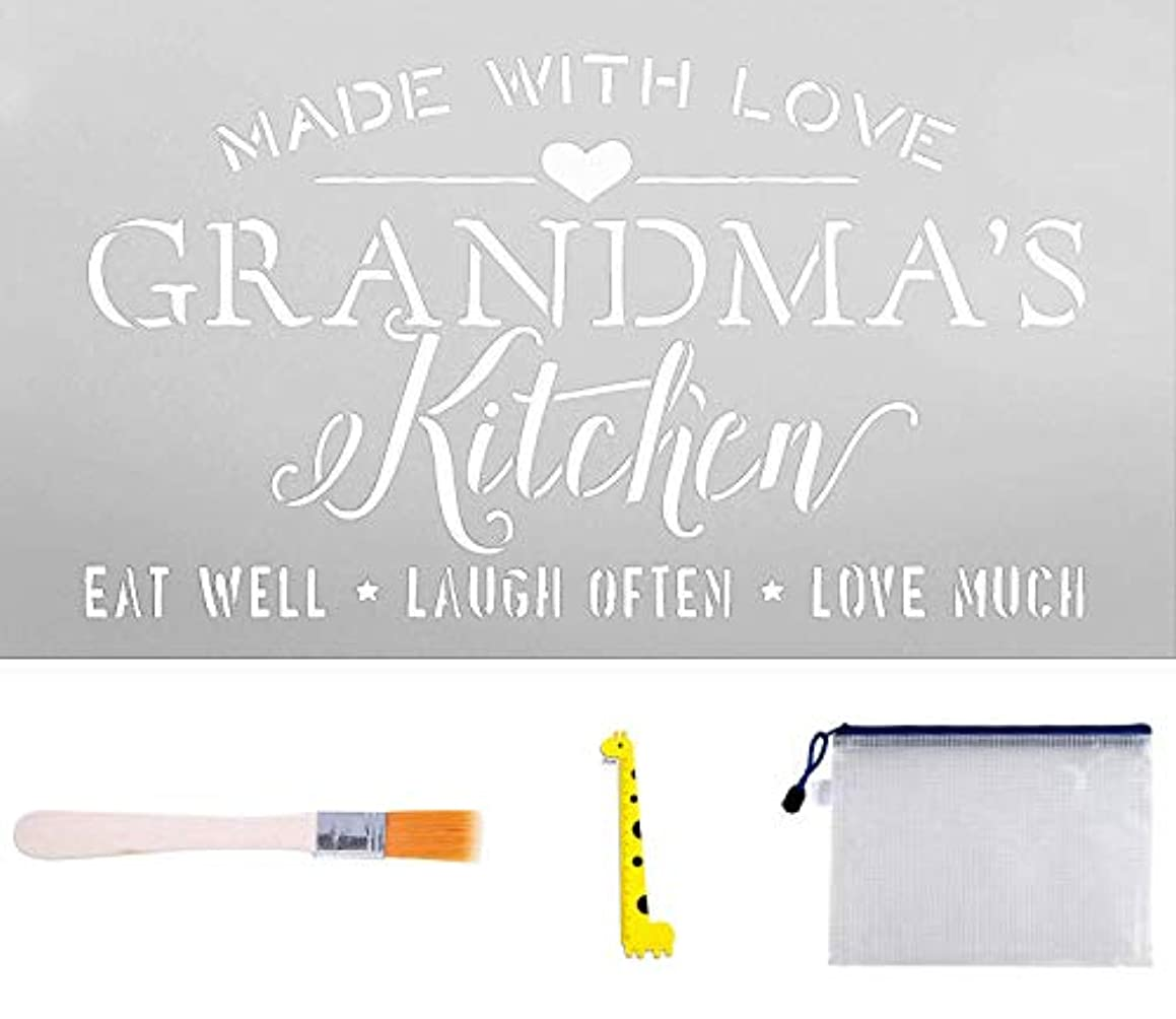 Made with Love Grandma's Kitchen Stencil, Word Stencil - Reusable Mylar Template, Mothers Day DIY Home Decor with Art Brush/Storage Bag/Ruler (6 x 11 inch)